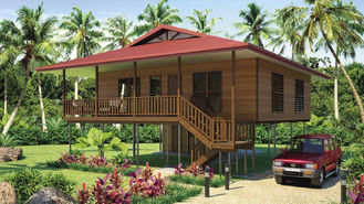 China Light Steel Frame Wooden Home Beach Bungalows With Shower , Kitchen supplier
